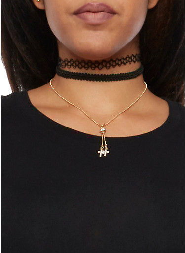 Set of 3 Choker Necklaces,BLACK,large