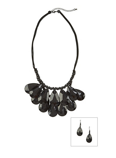 Tiered Beaded Necklace with Drop Earrings Set,BLACK,large