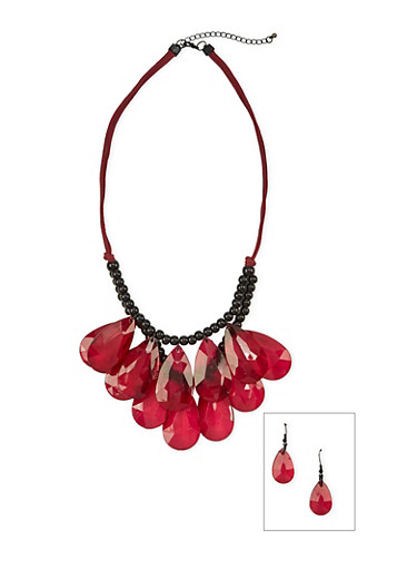 Tiered Beaded Necklace with Drop Earrings Set,RED,large