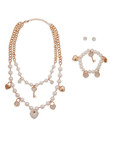 Tiered Faux Pearl Charm Necklace and Bracelet with Stud Earrings,ROSE,large
