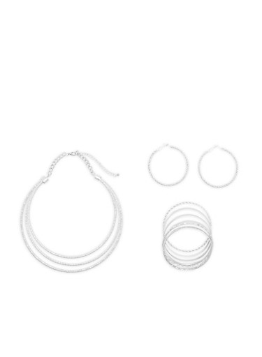 Textured Metallic Collar Necklace with Bangles and Hoop Earrings,SILVER,large