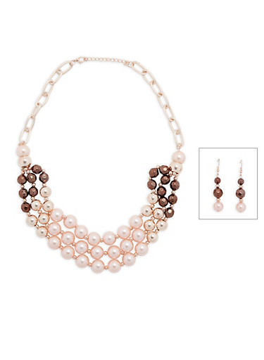 Faux Pearl Tiered Necklace with Matching Drop Earrings,BLUSH,large