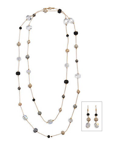 Long Beaded Necklace with Earrings,JET,large