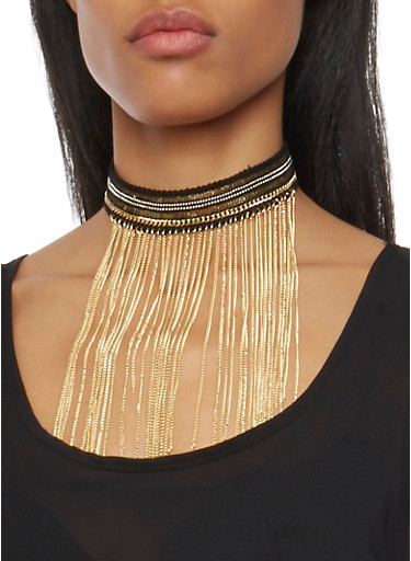 Sequined Choker Necklace with Fringe Trim,GOLD,large