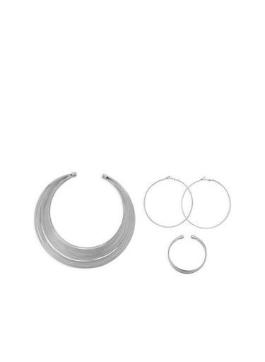 Metallic Wire Collar Necklace with Hoop Earrings and Bracelet,SILVER,large