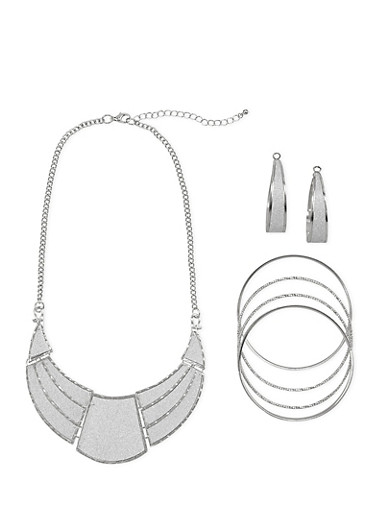 Glitter Crescent Necklace with Bracelets and Earrings,SILVER,large
