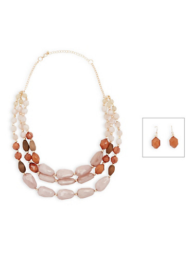3 Tiered Glass Beaded Necklace and Earrings Set,TAUPE,large
