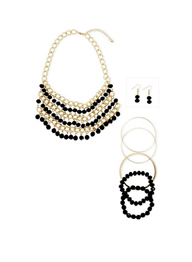 Chain and Beaded Bib Necklace Earring and Bracelet Set,GOLD,large