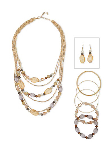 Layered Beaded Necklace with Bracelets and Drop Earrings,TOPAZ,large
