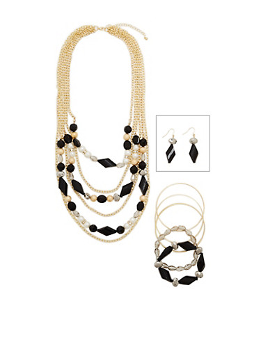 Multi Layer Faux Pearl and Bead Necklace and Jewelry Set,GOLD,large