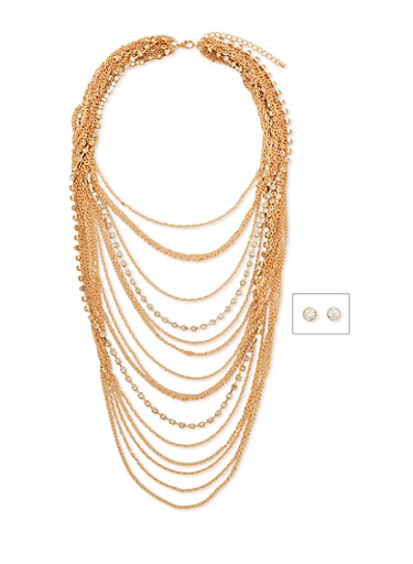 Multi Layer Chain and Rhinestone Necklace with Matching Earrings,GOLD,large