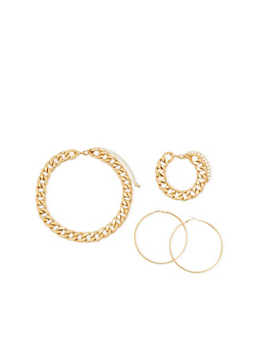 Chunky Curb Chain Necklace and Bracelet with Hoop Earrings,GOLD,large