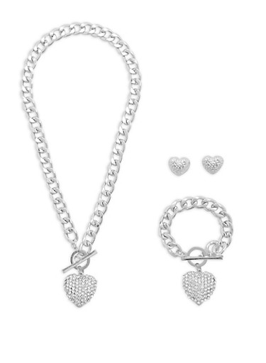 Heart Charm Necklace with Bracelet and Earrings,SILVER,large