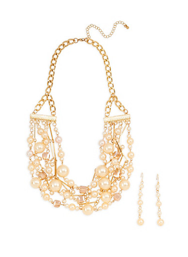 Layered Faux Pearl Beaded Necklace with Drop Earrings,GOLD,large