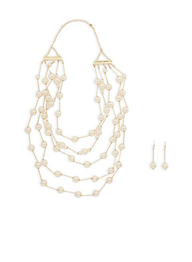 Multi Layer Faux Pearl Necklace and Drop Earrings,GOLD,large