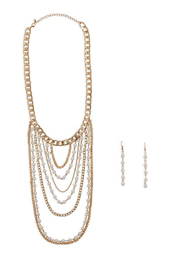 Curb Chain Faux Pearl Collar Necklace with Drop Earrings,GOLD,large