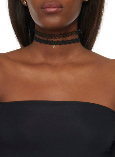 Set of 3 Looped Choker Necklaces,BLACK,large