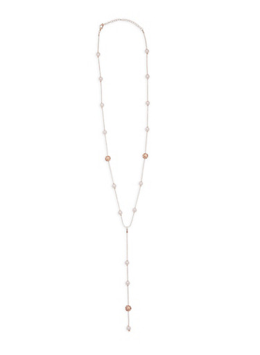 Long Faux Pearl and Rhinestone Beaded Y Necklace,ROSE,large
