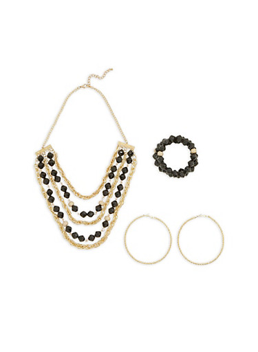 Multi Layer Beaded Necklace with 3 Stretch Bracelets and Textured Hoop Earrings,BLACK,large