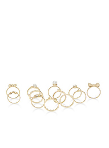 Set of 12 Multi Textured Rings,GOLD,large