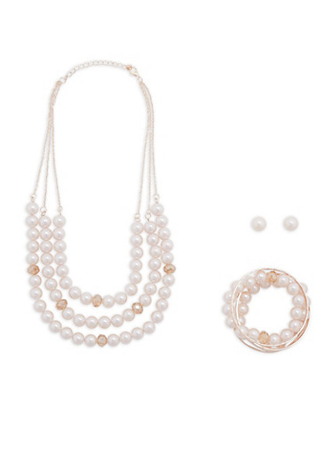 Faux Pearl Layered Necklace with Bracelets and Earrings,ROSE,large