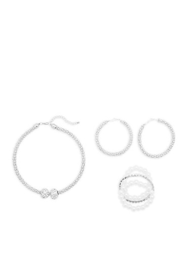 Metallic Mesh Necklace and Hoop Earrings with 3 Stretch Bracelets,SILVER,large