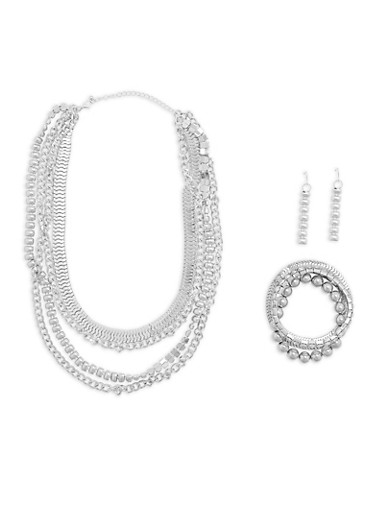 Mixed Chains Necklace with Stretch Bracelets and Drop Earrings,SILVER,large