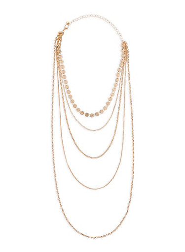 Multi Layer Metallic Necklace,GOLD,large