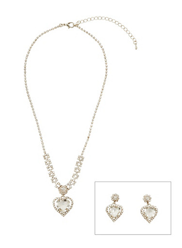 Heart Rhinestone Necklace with Matching Earrings,SILVER,large