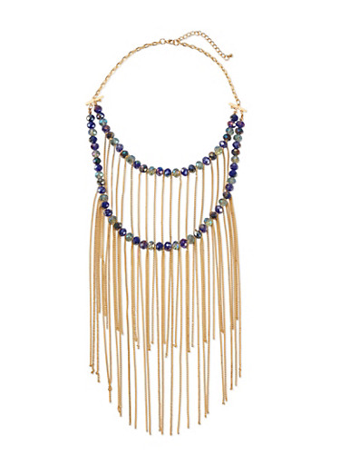 Tiered Crystal Necklace with Long Fringe,DENIM,large