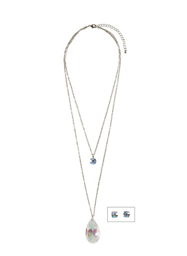 2 Layer Florescent Glass Pendant Necklace with Matching Stud Earrings,SILVER,large