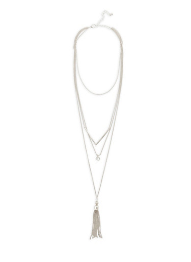 Tiered Chevron and Tassel Necklace,SILVER,large