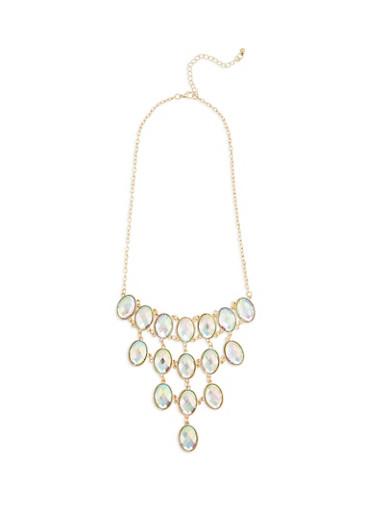 Jeweled Bib Necklace,GOLD,large