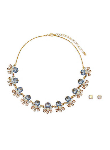 Jeweled Statement Necklace and Earrings,TRITONE (SLVR/GLD/HEMAT),large
