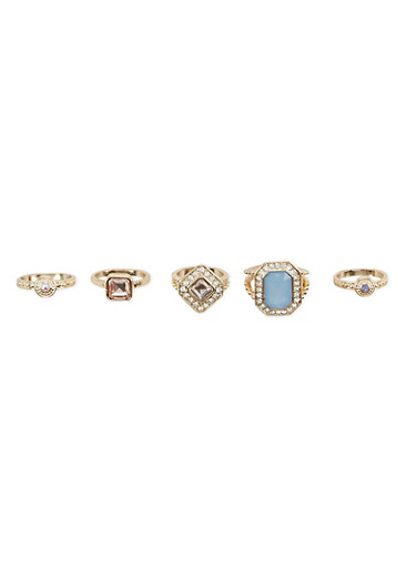 Set of 5 Studded Rings,BLUE,large