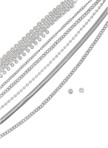 Wear 3 Ways Metallic Mesh Necklaces and Stud Earrings,SILVER,large