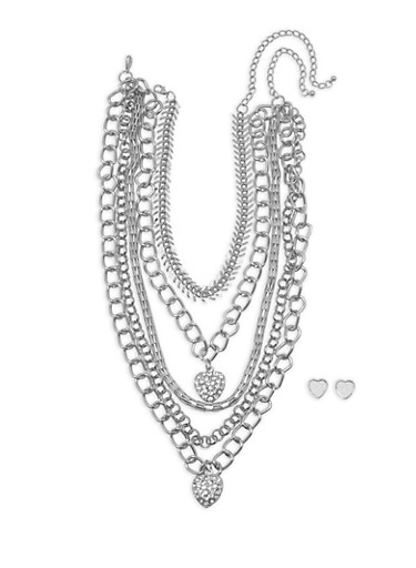 Wear 3 Ways Heart Rhinestone Necklaces and Stud Earrings,SILVER,large
