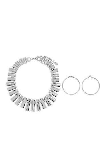 Flat Glitter Necklace with Hoop Earrings,SILVER,large