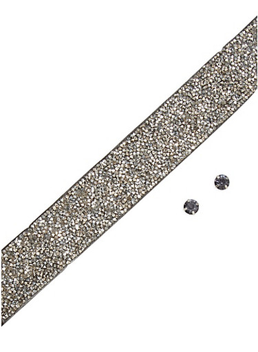 Wide Studded Choker with Stud Earrings,HEMATITE,large