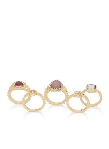 Set of 5 Textured Solitaire Rings,GOLD,large