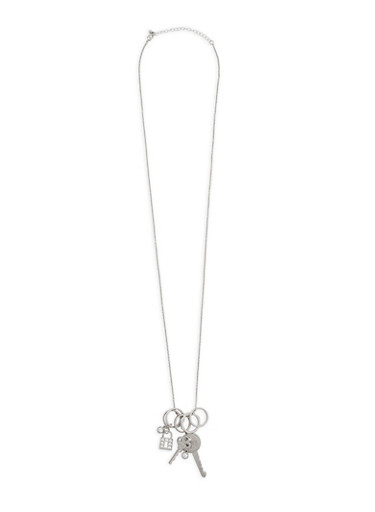 Metallic Keys and Lock Charm Necklace,SILVER,large