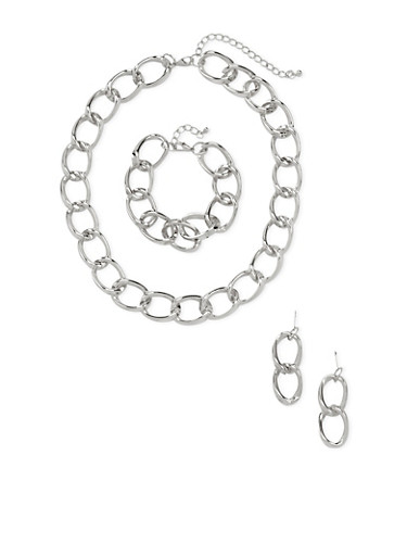 Chainlink Jewelry Set,SILVER,large