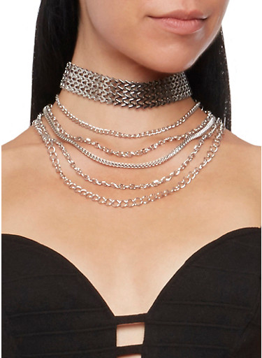Choker and Layered Chain Necklaces Set,SILVER,large
