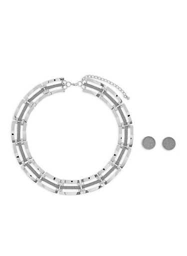 Glitter Flat Bar Necklace with Button Earrings,SILVER,large