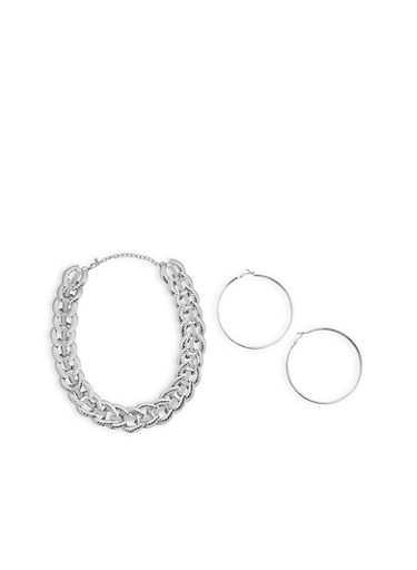 Metallic Glitter Chain Necklace with Hoop Earrings,SILVER,large
