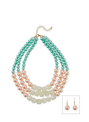 Tiered Beaded Necklace with Drop Earrings Set,MINT,large