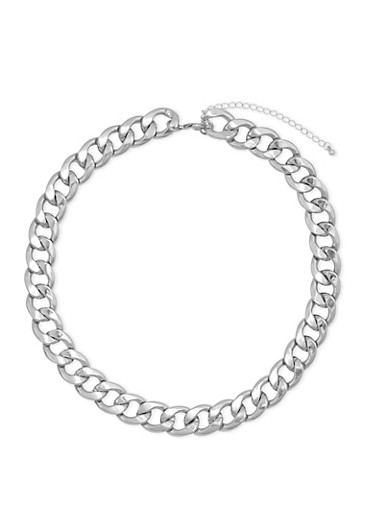 Curb Chain Necklace,SILVER,large
