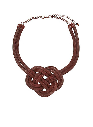 Double Mesh Knotted Necklace,WINE,large
