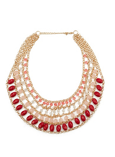 Four Row Beaded Statement Necklace,RASPBERRY,large