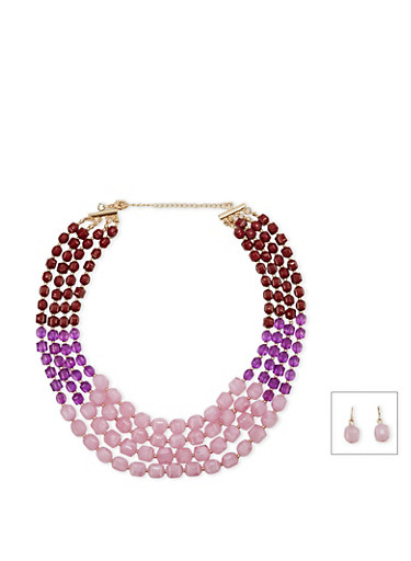 Four Row Beaded Necklace with Matching Drop Earrings Set,WINE,large